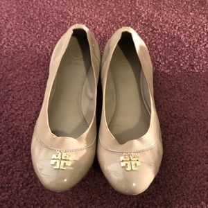 Tory Burch Patent Taupe Flats